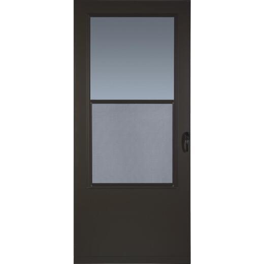 Larson Value-Core 32 In. W. x 80 In. H. x 1 In. Thick Brown Self-Storing Aluminum Storm Door