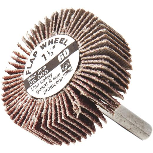 Forney 1-1/2 In. x 1/4 In. 60 Grit Shank Mounted Flap Sanding Wheel