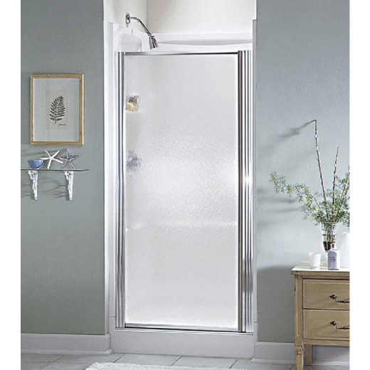 Sterling 30-1/2 In. W. X 64 In. H. Chrome Hammered Glass Standard Pivot Shower Door