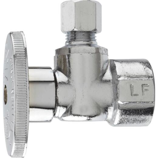 Do it Best 1/2 In. FIP x 1/4 In. OD Chrome-Plated Brass Quarter Turn Angle Valve