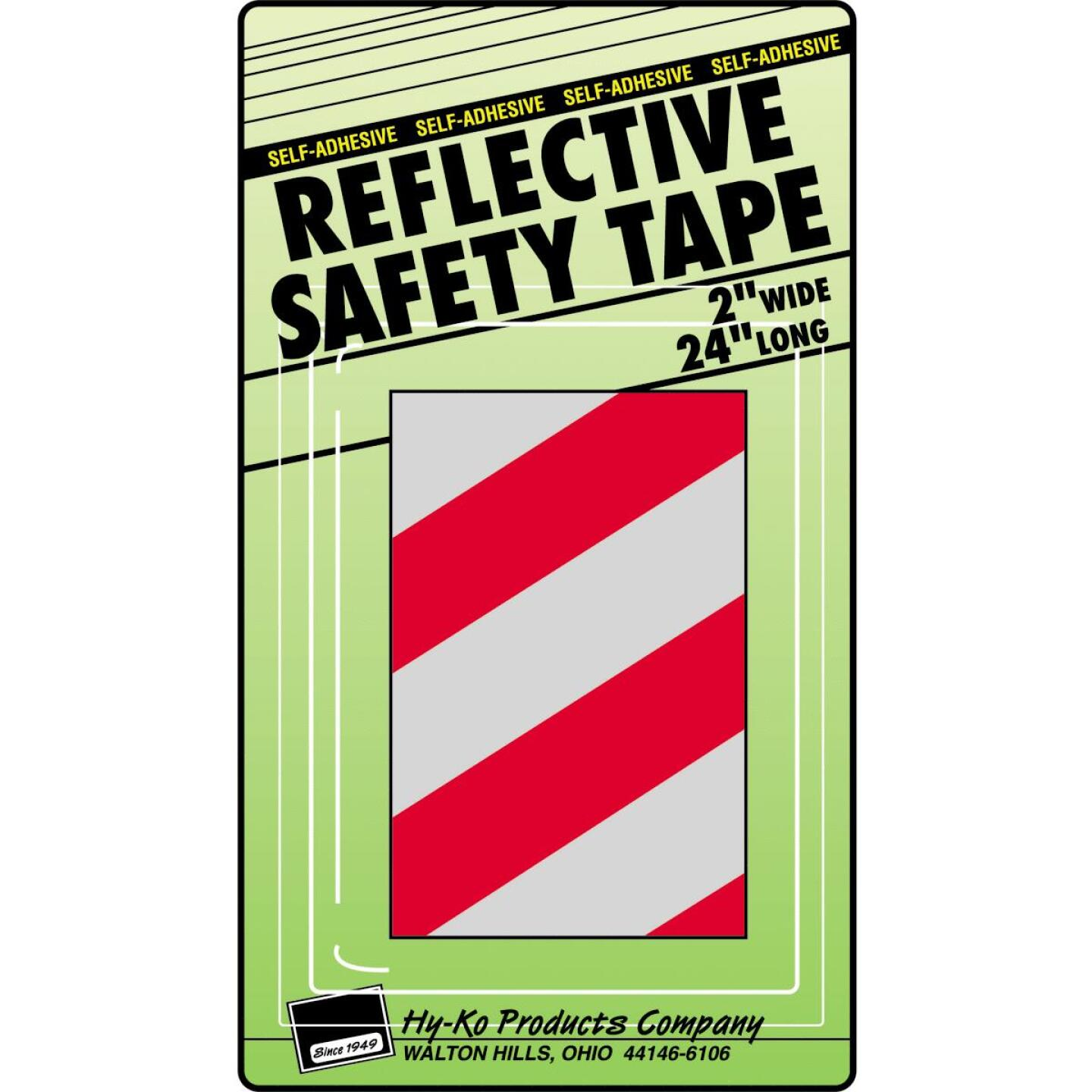 Hy-Ko 2 In. W. x 24 In. L. Red & Silver Stripe Reflective Safety Tape Image 1