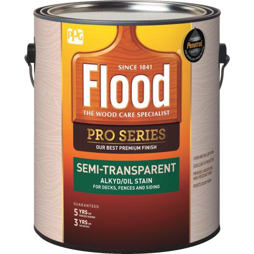 Flood Pro Series Alkyd/Oil Semi-Transparent Deck Fence and Siding Exterior Stain, Neutral Base, 1 Gal.