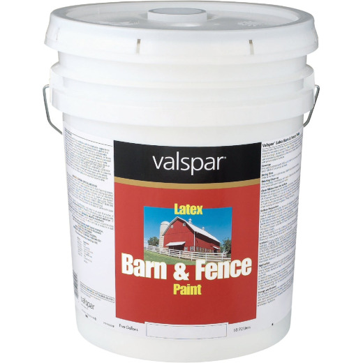 Valspar Latex Paint & Primer In One Flat Barn & Fence Paint, Red, 5 Gal.