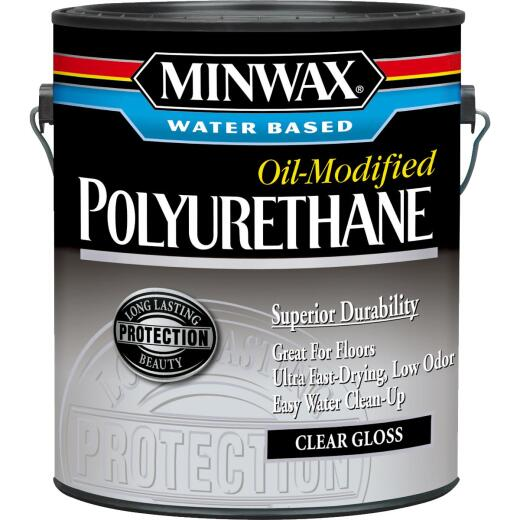Minwax Gloss Water Based Oil-Modified Interior Polyurethane, 1 Gal.